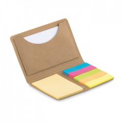 Tarjetero con notas adhesivas